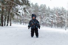 Muchacho en el bosque del invierno Foto de archivo libre de regalías