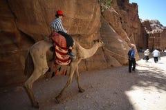 Muchacho en el camello en el Petra, Jordania Imagen de archivo libre de regalías