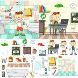 Muchacho en el cuarto de baño Fotos de archivo libres de regalías