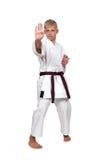 Muchacho en el entrenamiento del juego del karate Fotografía de archivo libre de regalías