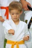 Muchacho en el entrenamiento del juego del karate Fotografía de archivo