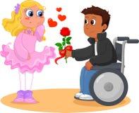 Muchacho en el sillón de ruedas y la muchacha bonita libre illustration
