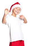 Muchacho en el sombrero de Santa Foto de archivo libre de regalías