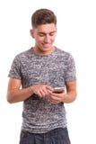 Muchacho en el teléfono Fotos de archivo