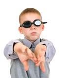 Muchacho en gafas de la natación Fotografía de archivo