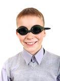 Muchacho en gafas de la natación Fotos de archivo