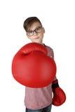 Muchacho en guantes de boxeo con el foco en guante imágenes de archivo libres de regalías