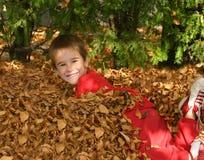 Muchacho en hojas de la caída Imagenes de archivo