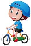 Muchacho en la bici que lleva el casco azul stock de ilustración