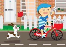 Muchacho en la bicicleta, mensajero de periódicos Imagen de archivo libre de regalías