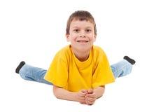 Muchacho en la camiseta amarilla aislada Foto de archivo
