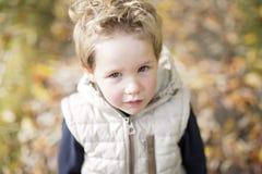 Muchacho en la estación del otoño en un parque Foto de archivo
