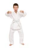Muchacho en la ropa para los artes marciales Foto de archivo libre de regalías