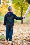 Muchacho en las hojas amarillas Foto de archivo libre de regalías