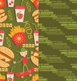 Muchacho en productos de un monopatín y de los alimentos de preparación rápida stock de ilustración