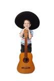 Muchacho en sombrero con la guitarra en blanco imagen de archivo libre de regalías