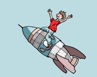 Muchacho en un cohete Imágenes de archivo libres de regalías