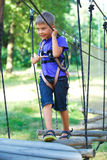 Muchacho en un parque de la aventura que sube Fotografía de archivo