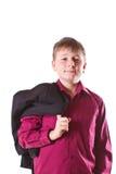 Muchacho en una chaqueta negra Imágenes de archivo libres de regalías
