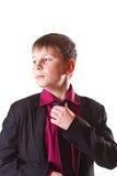 Muchacho en una chaqueta negra Fotografía de archivo