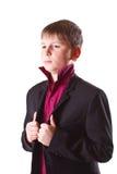 Muchacho en una chaqueta negra Foto de archivo