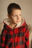 Muchacho en una chaqueta roja con una capilla Imagen de archivo libre de regalías