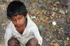 Muchacho enfermo del mendigo Fotos de archivo libres de regalías