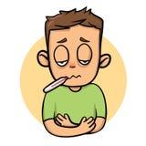 Muchacho enfermo del niño con el termómetro en su boca Icono del diseño de la historieta Ejemplo plano del vector Aislado en blan libre illustration