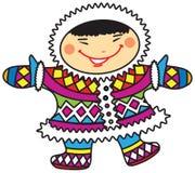 Muchacho esquimal sonriente feliz de la historieta en trajes nacionales coloridos Fotografía de archivo libre de regalías