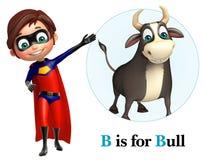 Muchacho estupendo que señala Bull libre illustration
