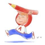 Muchacho feliz con el lápiz-watercol