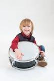 Muchacho feliz con el tambor Fotografía de archivo