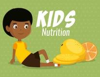 Muchacho feliz con la comida de la nutrición stock de ilustración