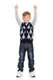 Muchacho feliz con las manos para arriba Imágenes de archivo libres de regalías