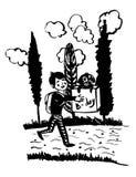Muchacho feliz de dibujo que corre en el camino con una caja grande, presente de la imagen de cumpleaños, con el perrito manchado Imagenes de archivo