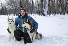 Muchacho feliz del adolescente de la Navidad que juega con el perro fornido blanco en día de invierno, el perro y el niño en niev Imágenes de archivo libres de regalías