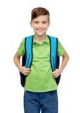 Muchacho feliz del estudiante con el bolso de escuela Imagen de archivo