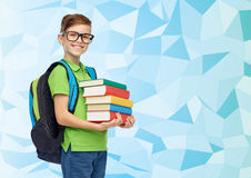 Muchacho feliz del estudiante con el bolso y los libros de escuela Fotografía de archivo libre de regalías