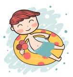muchacho feliz del verano en el anillo de vida libre illustration