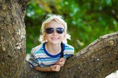 Muchacho feliz el día de fiesta que descansa sobre un árbol fotos de archivo libres de regalías
