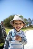Muchacho feliz en el patio Imagenes de archivo