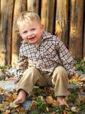 Muchacho feliz en hojas de otoño Imágenes de archivo libres de regalías
