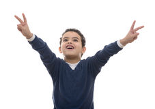 Muchacho feliz que aumenta las manos para arriba Imagenes de archivo