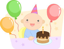 Muchacho feliz que celebra su primer cumpleaños Foto de archivo libre de regalías