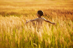 Muchacho feliz que corre en la hierba en una tarde del verano Imagenes de archivo