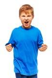 Muchacho gordo enojado Imagen de archivo libre de regalías