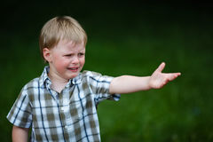 Muchacho gritador joven en parque del verano Imagen de archivo
