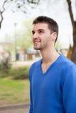 Muchacho hermoso con el jersey azul Fotos de archivo libres de regalías