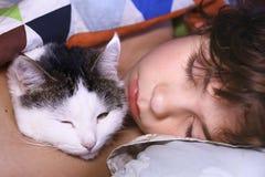 Muchacho hermoso del preadolescente con el gato que abraza en cama Foto de archivo