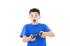 Muchacho hermoso que juega los juegos de ordenador Foto de archivo libre de regalías
